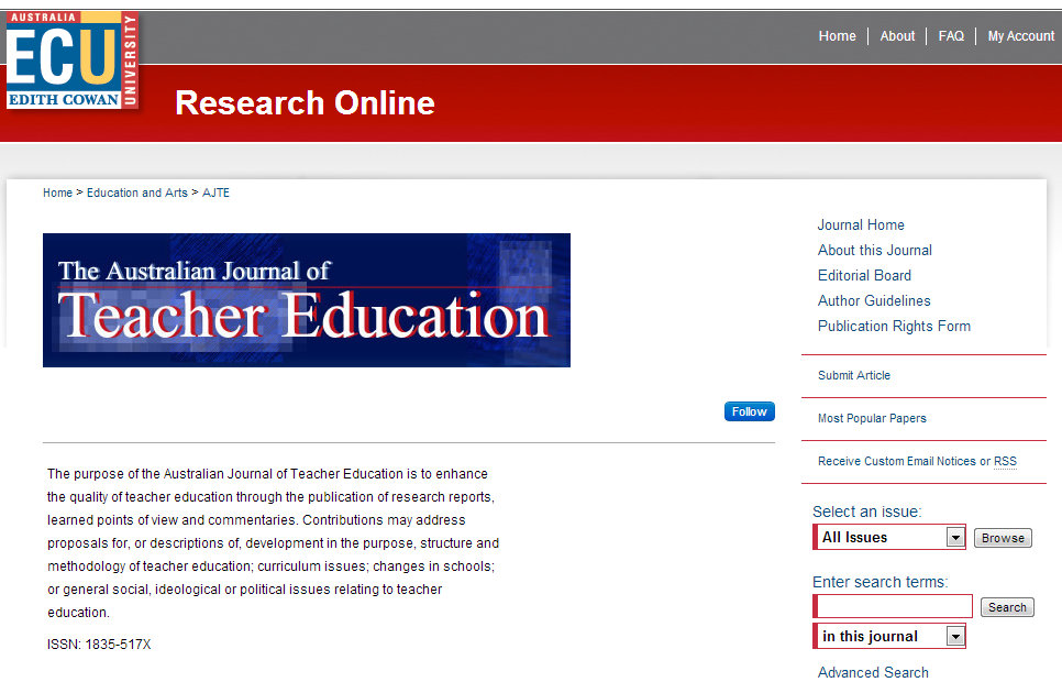 Australian Journal of Teacher Education - Faculty of Education and Arts - Edith Cowan University